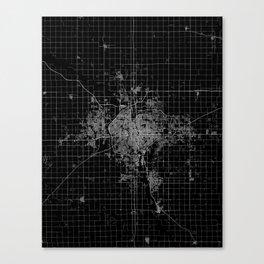 Wichita map Kansas Canvas Print