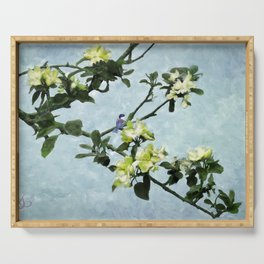Chickadee in Apple Blossoms Serving Tray