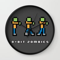 8 bit Wall Clocks featuring 8-BIT ZOMBES LOVE 8-BIT BRAINS by Lewys Williams