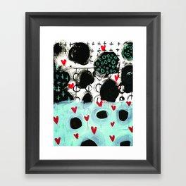 Falling Hearts Framed Art Print