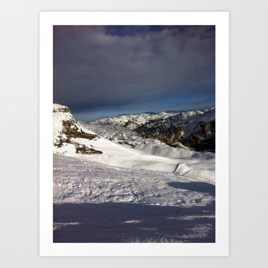 Skiing in the Austrian Alps Art Print