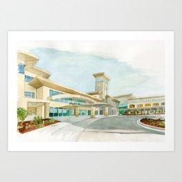 Watercolor Warwick World Headquarters Art Print
