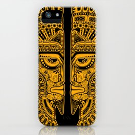 Yellow and Black Aztec Twins Mask Illusion iPhone Case