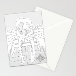 spin-off art: melancholy sculpture on book raft with dropped open book and sea view Stationery Cards