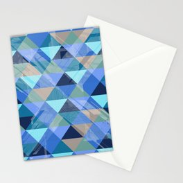 Triangles Blues Stationery Cards