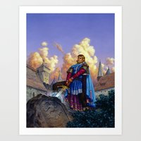 tyrion Art Prints featuring King Arthur by Hescox