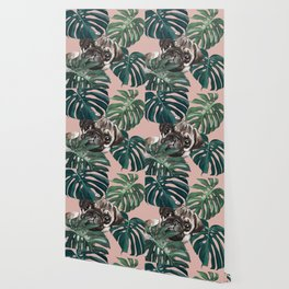 Pug with Monstera Leaf Wallpaper
