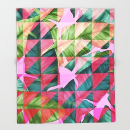 Abstract Hot Pink Banana Leaves Design Throw Blanket