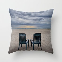 Sunrise on the Beach with Two Chairs at Oscoda Michigan Throw Pillow