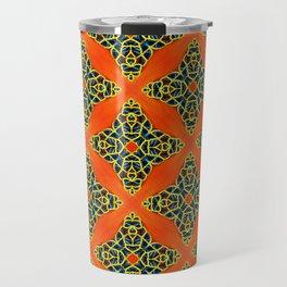 Beautiful Orange, Blue and Yellow beadwork inspired print Travel Mug