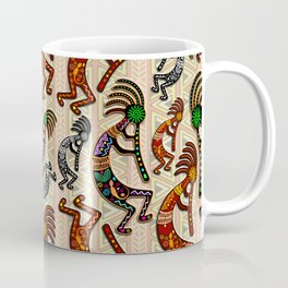 Kokopelli Rainbow Colors on Tribal Pattern  Coffee Mug