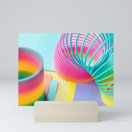 Rainbow Colored Slinky Toy Mini Art Print