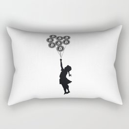 Girl With Bitcoin Balloons Rectangular Pillow