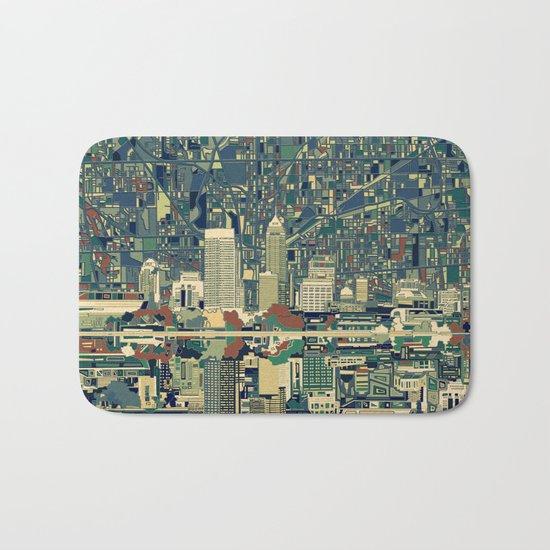 indianapolis city skyline green Bath Mat