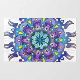 Colored blue mandala Rug