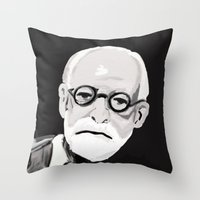 freud Throw Pillows featuring Freud  by BJD124