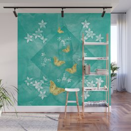 Gold butterflies and silver flowers on a textured teal mandala Wall Mural