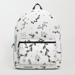 Green pink grey cute Christmas pattern floral branch Backpack