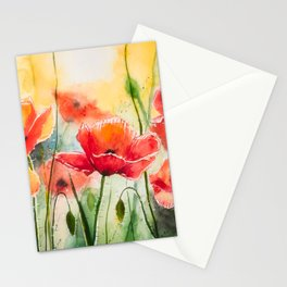 Sunny Poppies Watercolor Painting by Monika Stationery Cards