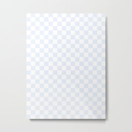 Small Checkered - White and Pastel Blue Metal Print
