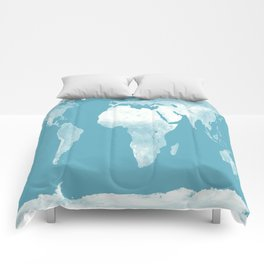 World Map Riverside Blue Comforters