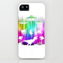 Alien Dino T-Rex UFO conspiracy theory Gift iPhone Case