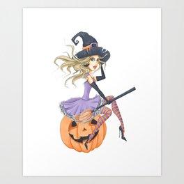 Beautiful Witch on The Pumpkin Art Print