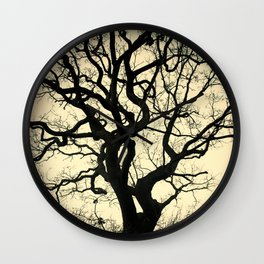 Tree Silhouette - Yellow Wall Clock