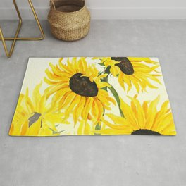 sunflower watercolor 2017 Rug