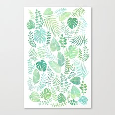 Green tropical leaves pattern Canvas Print