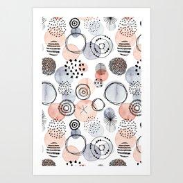 Watercolor Circles | Coral and Grey Palette Art Print