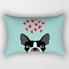 Boston Terrier - Hearts, Cute Funny Dog Cute Valentines Dog, Pet, Cute, Animal, Dog Love,  Rectangular Pillow