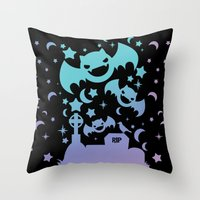 pastel goth Throw Pillows featuring Creepy Cute Fairy Kei Pastel Goth Bats, Stars, and Crescent Moons by KawaiiMachine