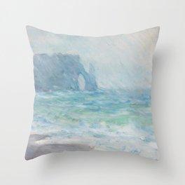 Monet Regnvær, Etretat, 1886 Throw Pillow