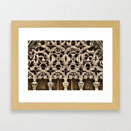 Gothic tracery at Batalha, Portugal, with the Knights Templar cross Framed Art Print