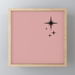 Atomic Age Retro Starburst Pattern in Black and 1950s Pink Framed Mini Art Print