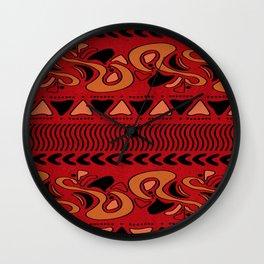 TRIBAL STAMP   red pumkin black Wall Clock