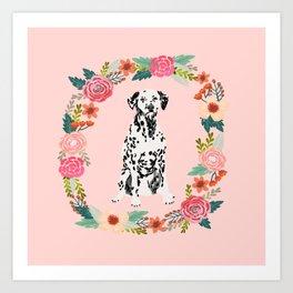 dalmatian dog floral wreath dog gifts pet portraits Art Print