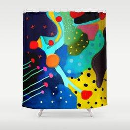 Abstract Art - Lagoon mushrooms rupydetequila amazonia dots cheetah Shower Curtain