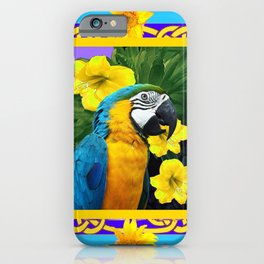 Tropical Blue & Gold Macaw Parrot Purple Art iPhone Case