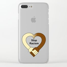 Stop racism theme handshake Clear iPhone Case