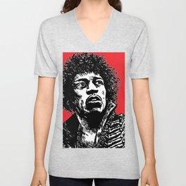 Jimi Hendrix Pop-Art (Red) Unisex V-Neck
