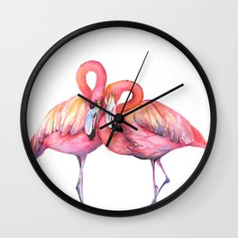 Two Flamingos in Love Wall Clock