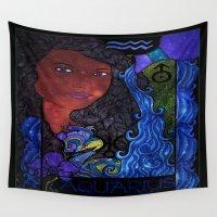 aquarius Wall Tapestries featuring Aquarius by Laura Jean