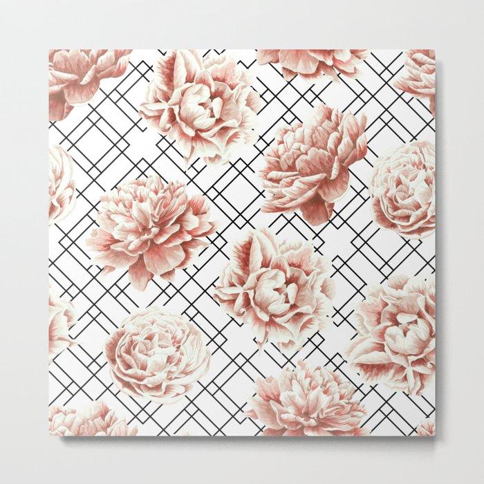 Rose Garden Vintage Rose Pink Cream White Mod Diamond Lattice Metal Print