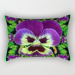 Lilac  Color Purple PANSY Green Garden art Rectangular Pillow