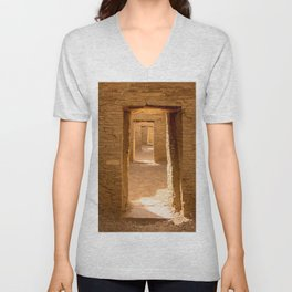 Chaco Ancient Doors Chaco Ancient Holes and a row of doors at Pueblo del Arroyo Scarf Unisex V-Neck
