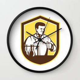 Scientist Lab Researcher Chemist Shield Retro  Wall Clock