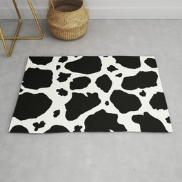 black and white animal print cow spots Rug
