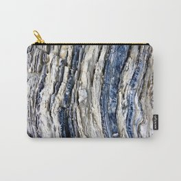 Gray Beige Blue Jagged Rock Stripes Carry-All Pouch